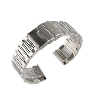 Inoxidável 22 milímetros aço preto / prata Soild pulseira para homens relógios de metal Correias Pulseira Relógio substituição Watch Band CJ191225 Luxo