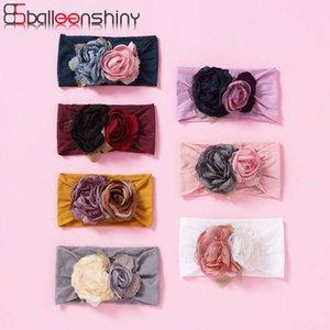 Balleenshiny Solid Solor Nylon fascia del bambino di seta multicolore maglia di cucitura del bambino del fiore della fascia dei capelli di nuovo modo di scaldino della testa del turbante