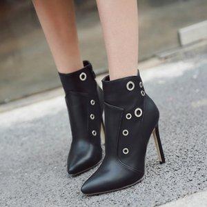 2020 tacones altos de cuero botas de las mujeres de alta calidad de los cargadores del tobillo Negro Ultra Thin Tacones botines zapatos de las señoras Zapatos De Mujer JJ79