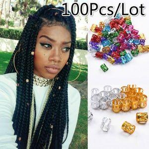 / lot 8 mm agujero de los granos anillo Dreadlock Micro ajustables clips 100 piezas trenza del pelo de Gemelos