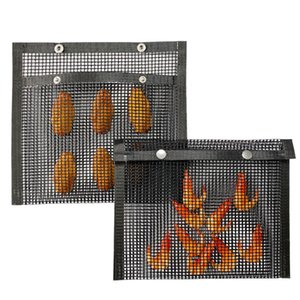 Resistência Non-Stick malha Grill sacola reutilizável churrasco Asse Bag High Temperature fácil de limpar Outdoor BBQ Picnic Ferramenta IIA40