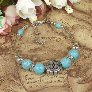 Exquisite Ethnic Style Tibetan Silver Turquoise Bead Bracelet, National Style Turquoise Beaded hand jewelry Bracelet for ladies S7642