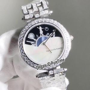 베스트 에디션 VCARO3ZA00 스틸 실버 다이아몬드 베젤 데이트 시리즈 다이얼 스위스 쿼츠 여자 시계 숙녀 시계 보석 다이아몬드 밴드 VA31c3