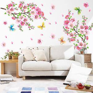 3D Rosa rimovibile pesca prugna Fiore Fiore di ciliegio farfalla di arte del vinile della decalcomania della casa della parete della stanza della decorazione Sticker
