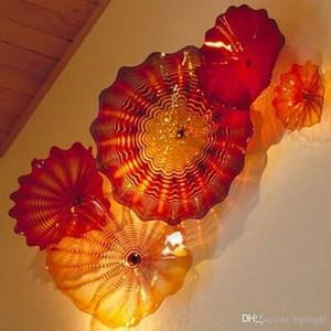 Turco Murano soplado placas de vidrio con estilo de cristal montado en la pared de la lámpara de luz Boca Blown placas de cristal de Murano
