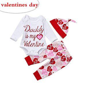 아기 디자이너 2019 소녀 발렌타인 데이 의상 작은 소녀 의류 세트 부티크 유아 긴 소매 rompers 모자 붉은 마음 바지 3pc 세트