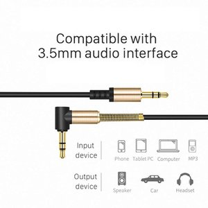 3.5mm Audio Cable Nylon Braid 90 Degree Right Angle Aux Cord For Phone Tablet PC Multimedia earphone accessories