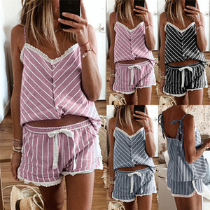 Womens Striped Suspender Pajamas Set Sexy V Neck Top Casual Lace Up Loose Shorts Famale Designer Sleepwear