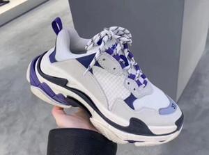 Paris 17FW Moda mulheres sapatos do pai Shoes Triple S 17FW Sneakers para as Mulheres Homens Primavera Chaussures Azul Navy Laranja papai Shoes