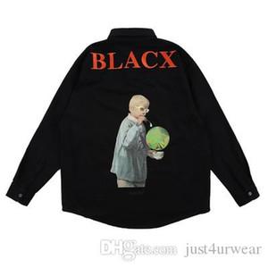 캐주얼 짧은 블랙 셔츠 편지 긴 소매 셔츠 패션 남성 힙합 핫 판매 탑 인쇄 남성