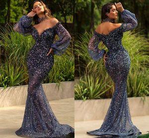 Azul marinho escuro lantejoulas Mermaid Prom Dresses Sexy Poeta mangas compridas vestido de noite Plus Size High Side Dividir Formal vestido de festa Bridemaid