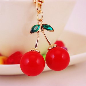 Crystal cute red cherry car key chain Women's bag accessories fruit metal pendant craft small gift