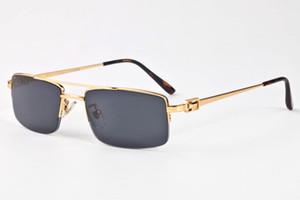 Buffalo Horn Gafas de sol para hombre 2019 Gafas de sol de visión nocturna Gafas con montura dorada Gafas de sol semi sin montura Gafas Gradient Sun