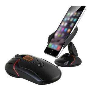 Carro montar titular mouse Folding Suporte completa Titular rotação de 360 graus GPS Car otário Universal Telefone Suporte Suporte de montagem - Preto