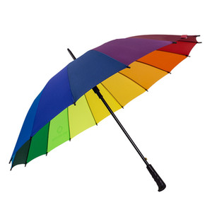 Moda 16 Osso Rainbow Umbrella Chuva Mulheres Colorful Umbrella punho longo Homens à prova de vento colorido Anti-UV Guarda-sol TTA1899