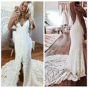 Sexy cintas de espaguete branco simples Lace Vestido de casamento com vestidos de casamento Tribunal Trem Backless cabidos ABITI da sposa vestidos de casamento
