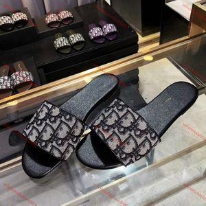 Dior Women's Sandals xshfbcl Paris lusso progettista Scuffs Womens Slipper Verão Sandals Praia Deslize Chinelos Ladies Flip Flops Loafers Sexy Floral bordado