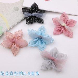 New Arrival Chiffon Flower Patch Estrelas com fita Bow Decor 30pcs Jóias Meninas Cabelo Garment Headband ornamento flores adesivos