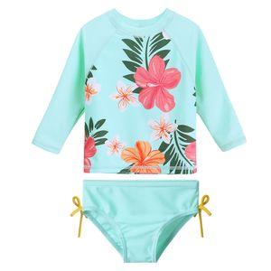 2018 Meninas Two Piece Swimsuit Crianças UV Rash Guard Natação Swimwear Flower
