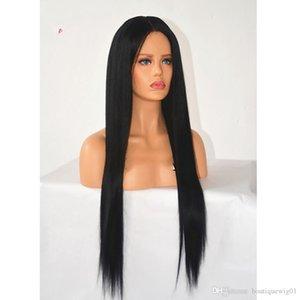 frente del cordón pelucas sintéticas del pelo africano negro recta pelucas Europea americanos de las mujeres peluca tendencia perruques 26 pulgadas de humains cheveux