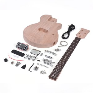 Kinder E-Gitarre Gitarre Unfinished DIY E-Gitarren-Kit Mahagoni Korpus Hals Palisander Griffbrett Einzel Dualcoil Pickup