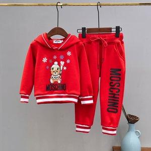 Marca del bambino dei capretti che coprono l'insieme manica lunga flanella Tute velluto con cappuccio cappotto giacca e pantaloni in due pezzi Outfits Panno 121.113