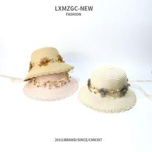 Korean-style New Style Children Summer Hat Man-made Diamond Chiffon Lace Straw Hat Baby Outdoor Sunshade Sun-resistant Sun