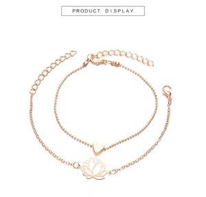 Pulseras de amor Conjuntos de joyas Pulsera simple Pulsera de loto hueco femenino