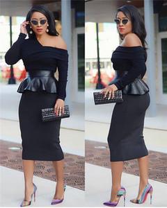 Uno de los vestidos del diseñador del Mujeres Vestidos Tamaño más delgado atractivo de la falda de cuero de costura Manga Larga Bodycon Vestidos mujer, fiesta de la moda