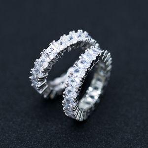 Al por mayor-lujo Eternidad Anillo de boda anillo de corte princesa Cubic Zircon de manera femenino de aniversario regalo Full Circle Square Anillos CZ