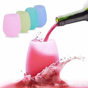 2018 Silicone Wine glass Outdoor Unbreakable Stemless Folding Water Bottle for Travel Camping outdoor portable mugs