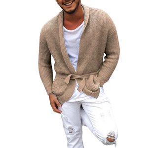 HEFLASHOR 2020 Men Long Sleeve Midi Sweater Cardigan Mens Coat Winter Autumn Casual Solid Color Cardigan Male Pull Homme Hiver