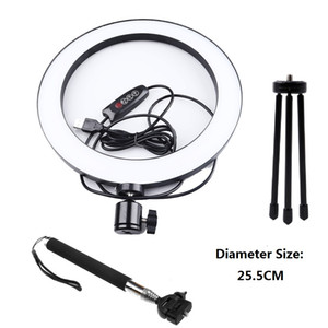 Dimmable LED Studio Kamera Ring Licht Photo Telefon Video Licht Ringlampe mit Stativen Selfie Stick Ring Fill Licht für Canon Nikon Kamera