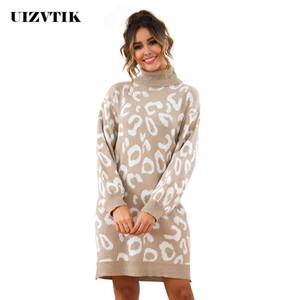Herbst-Winter-Kleid-Frauen 2019 beiläufiger Leopard gestrickte Pullover mit Stehkragen Pullover Langarm-Sweatshirt Kleider lose reizvolle Partei-Kleid