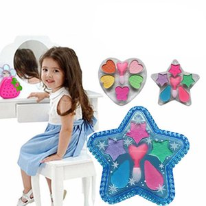 Kids Girl Pentagram Heart Shape Eye Shadow Toy Water Soluble Powder Makeup Eye Shadow Cosmetics Pretend Play Toys For Child Girl