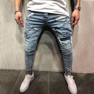 Fashion Men Jeans Mens Slim Casual Pants Elastic Trousers Light Blue Fit Loose Cotton Denim eans For Male