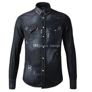 Camicia nera da uomo Camicia da uomo in cotone denim 3XL di grandi dimensioni Camicia in cotone con dettaglio cucito e dettagli distrutti