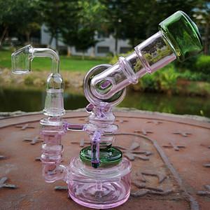 2019 Nueva línea única Bong Bong Cristal Perc Robot Pirogenación suspensión de aceite Dab Rig 7 pulgadas Embriagador de vidrio Tubos Sidecar agua con Banger