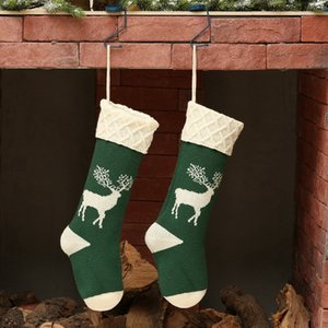 1pc Christmas Socks Deer Printed Knitted Acrylic Hosiery Gift Holder Tree Ornament Stocking Fireplace Hanging Decor For Candy Pr
