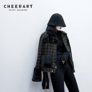CHEERART зима плед шерстяное пальто женщин куртки меховой воротник пальто Gold Thread Black полушерстяные Tweed Теплый Шинель