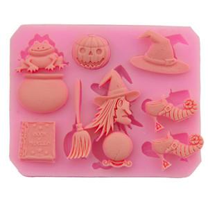 Cadılar Bayramı Silikon Kek Bisküvi Kalıp Cadı Kabak Çikolata Şekerleme Kalıp Yüksek Sıcaklık DIY Dekorasyon Pişirme Mutfak Aletleri BH2041 CY