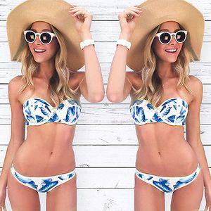 Femmes New Fashion Maillots de bain Bikini Set Bandeau Push-Up Soutien-gorge rembourré Maillots de bain tankini femmes Bikinis