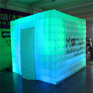 2.5m x2.5m envío Cube LED Tubo de Gaza inflable inflable Photo Booth estudio de la cabina