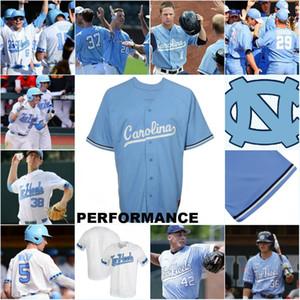 Personalizado North Carolina Tar Heels Colégio Baseball Jersey Mike Fox Kip Brandenburg Ashton McGee Dylan Enwiller North Carolina Tar Heels Jersey