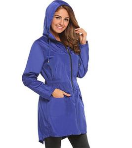 Taille Trench Mode solide avec fermeture éclair et poche pour femmes Veste Designer femme Tissu élastique capuche avec cordon de serrage