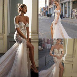 2020 Robes de mariée Sirène Front Split Sweetheart Dentelle Applique Train Boho Robe de mariée Boho Abiti da Sposa Bohemian Robes de mariée