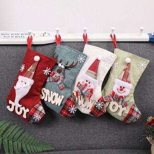 Decorazioni di Natale Calze Babbo Natale Elk pupazzo di neve Candy dono calze Albero di Natale Decor calza di Natale regalo di stoccaggio Socks BH0219 TQQ
