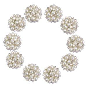Neue Rhinestone Perle Perlen Knöpfe Kristall 20 stücke Strass Faux Perle Blume Verzierungen Button Flatback 22mm Perlen