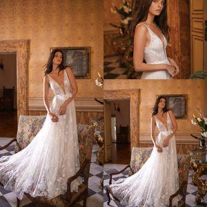 Gali Karten 2020 Wedding Dresses Lace Appliques Beach A-Line Bridal Gowns Sexy Deep V Neck Sweep Train Wedding Dress Vestido De Novia