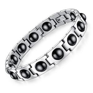 Cadeia do aço inoxidável homens pulseiras pulseira com Magnetic Corda Pedra Saúde Wrist Band for Boys Estilo Punk